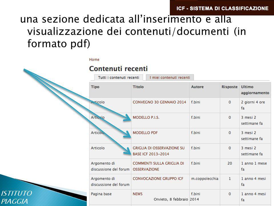 una sezione dedicata all'inserimento e alla visualizzazione dei contenuti/documenti (in formato pdf) ISTITUTO PIAGGIA Orvieto, 8 febbraio 2014