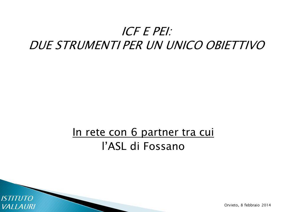 ICF E PEI: DUE STRUMENTI PER UN UNICO OBIETTIVO Orvieto, 8 febbraio 2014 In rete con 6 partner tra cui l'ASL di Fossano ISTITUTO VALLAURI