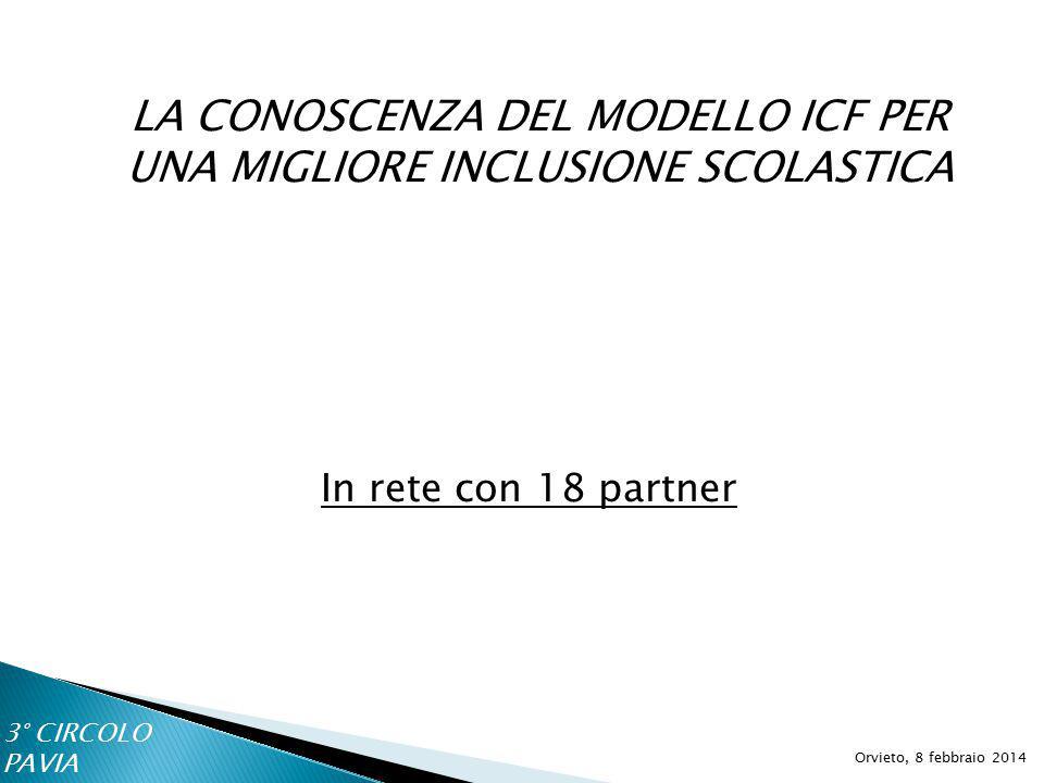LA CONOSCENZA DEL MODELLO ICF PER UNA MIGLIORE INCLUSIONE SCOLASTICA Orvieto, 8 febbraio 2014 In rete con 18 partner 3° CIRCOLO PAVIA