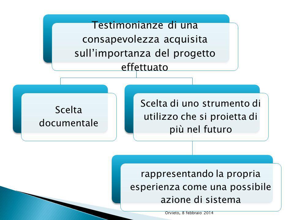 Testimonianze di una consapevolezza acquisita sull'importanza del progetto effettuato Scelta documentale Scelta di uno strumento di utilizzo che si proietta di più nel futuro rappresentando la propria esperienza come una possibile azione di sistema Orvieto, 8 febbraio 2014