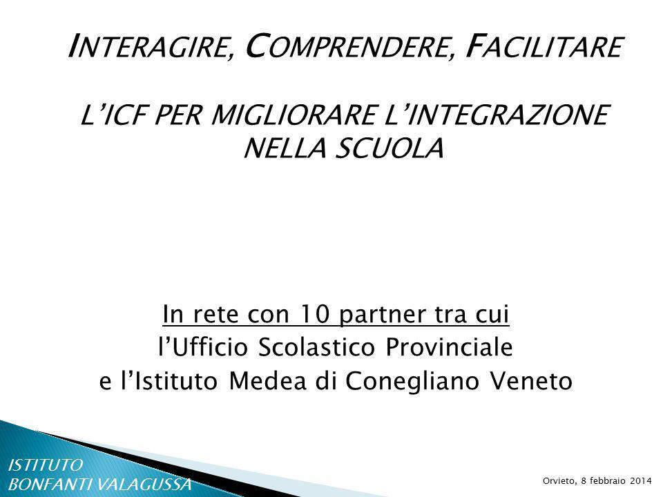 I NTERAGIRE, C OMPRENDERE, F ACILITARE L'ICF PER MIGLIORARE L'INTEGRAZIONE NELLA SCUOLA Orvieto, 8 febbraio 2014 In rete con 10 partner tra cui l'Ufficio Scolastico Provinciale e l'Istituto Medea di Conegliano Veneto ISTITUTO BONFANTI VALAGUSSA