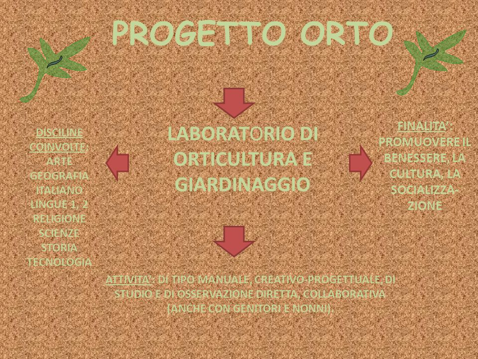PROGETTO ORTO LABORATORIO DI ORTICULTURA E GIARDINAGGIO FINALITA': PROMUOVERE IL BENESSERE, LA CULTURA, LA SOCIALIZZA- ZIONE DISCILINE COINVOLTE: ARTE GEOGRAFIA ITALIANO LINGUE 1, 2 RELIGIONE SCIENZE STORIA TECNOLOGIA ATTIVITA': DI TIPO MANUALE, CREATIVO-PROGETTUALE, DI STUDIO E DI OSSERVAZIONE DIRETTA, COLLABORATIVA (ANCHE CON GENITORI E NONNI).