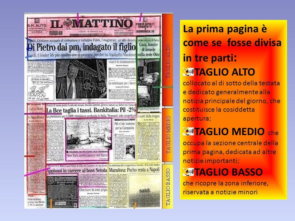 La prima pagina è come se fosse divisa in tre parti : TAGLIO ALTO collocato al di sotto della testata e dedicato generalmente alla notizia principale