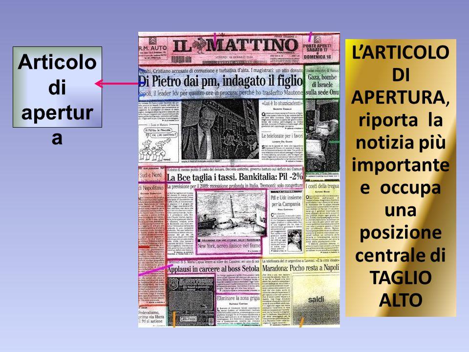 L'ARTICOLO DI APERTURA, riporta la notizia più importante e occupa una posizione centrale di TAGLIO ALTO Articolo di apertur a