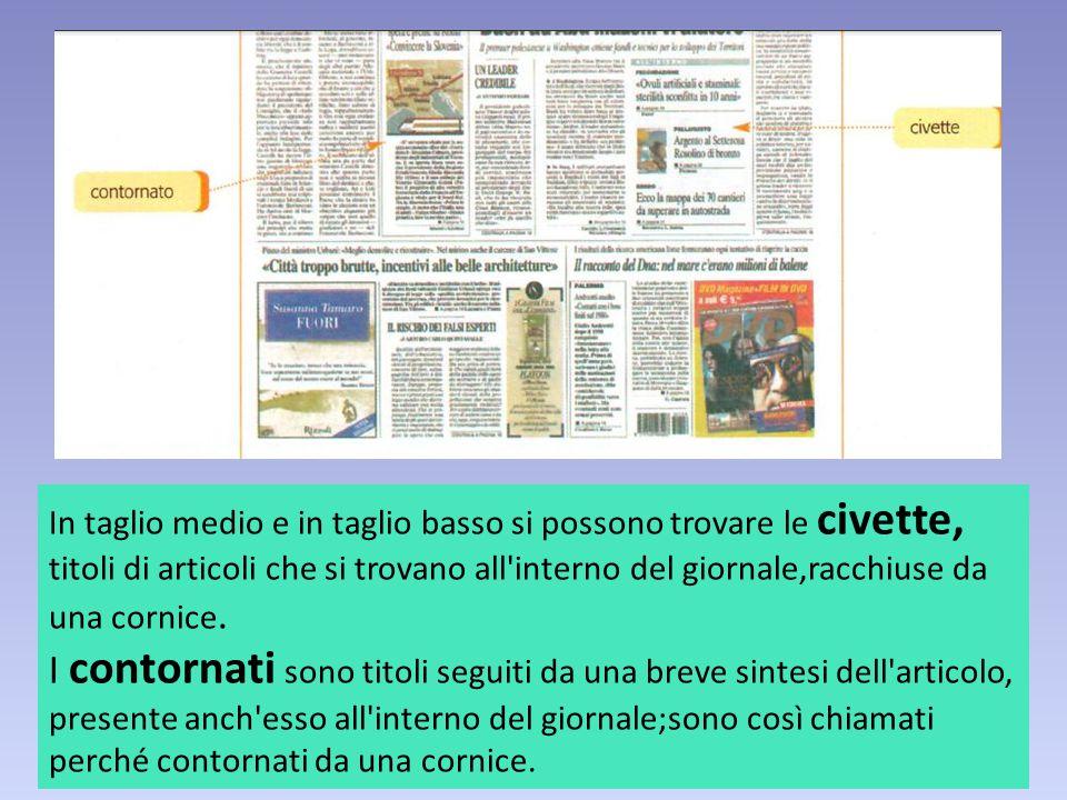 In taglio medio e in taglio basso si possono trovare le civette, titoli di articoli che si trovano all'interno del giornale,racchiuse da una cornice.