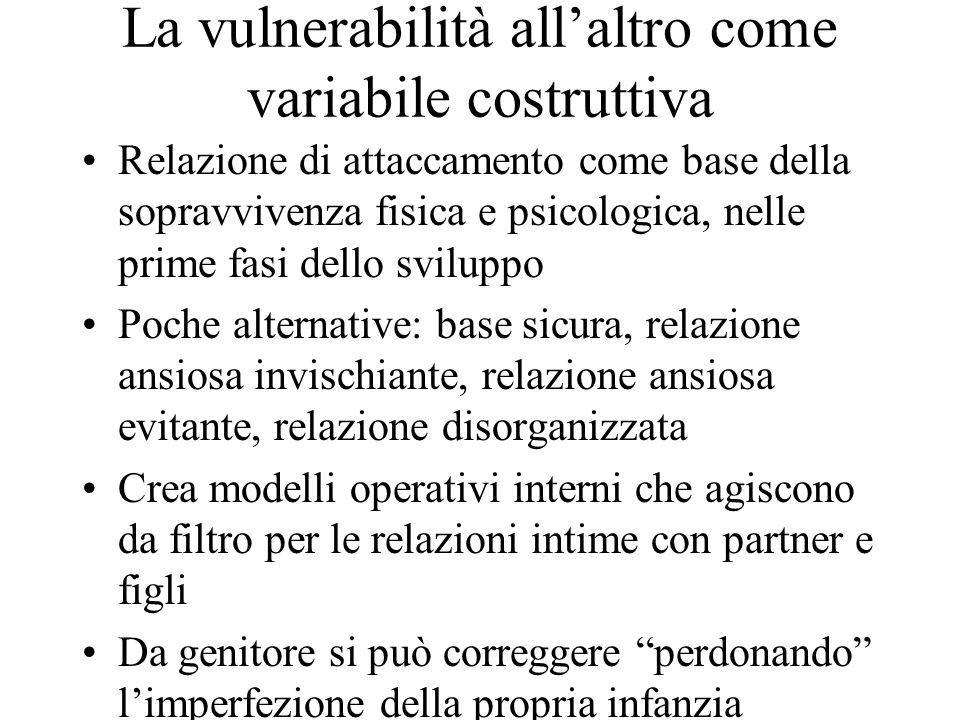 La vulnerabilità all'altro come variabile costruttiva Relazione di attaccamento come base della sopravvivenza fisica e psicologica, nelle prime fasi d