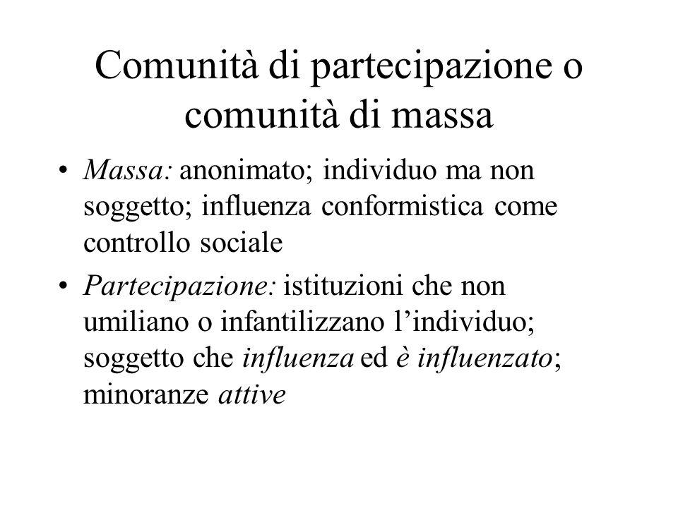 Comunità di partecipazione o comunità di massa Massa: anonimato; individuo ma non soggetto; influenza conformistica come controllo sociale Partecipazione: istituzioni che non umiliano o infantilizzano l'individuo; soggetto che influenza ed è influenzato; minoranze attive