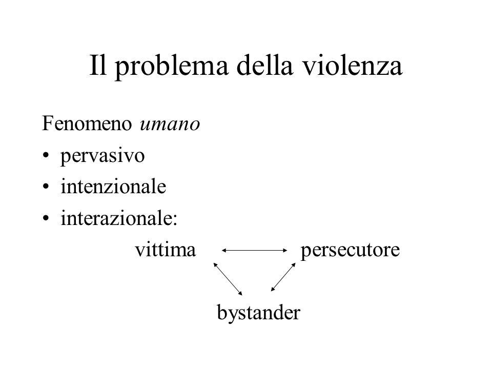 Il problema della violenza Fenomeno umano pervasivo intenzionale interazionale: vittima persecutore bystander