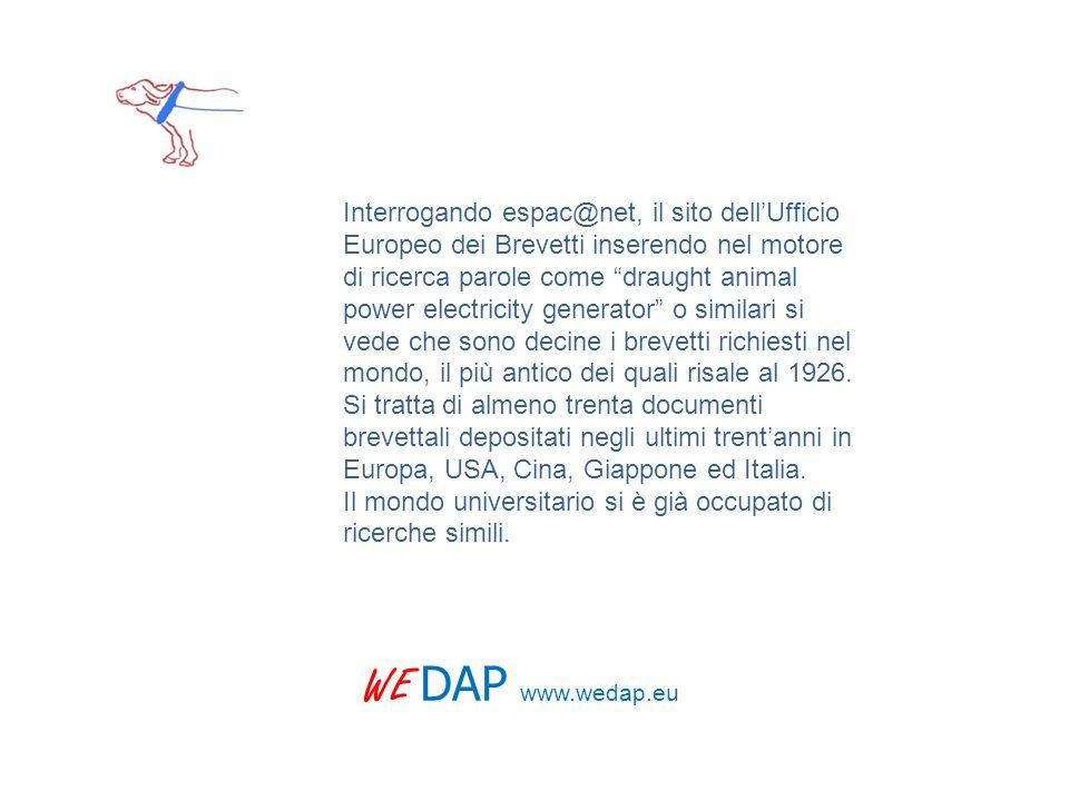 WE DAP www.wedap.eu Interrogando espac@net, il sito dell'Ufficio Europeo dei Brevetti inserendo nel motore di ricerca parole come draught animal power electricity generator o similari si vede che sono decine i brevetti richiesti nel mondo, il più antico dei quali risale al 1926.