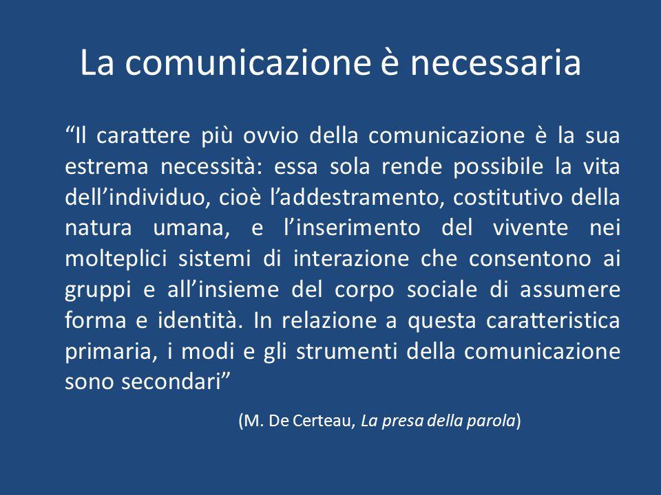 La comunicazione è inevitabile Watzlawick: assioma metacomunicativo (non si può non comunicare): anche il silenzio comunica, così come tutto il linguaggio del corpo, la distanza che teniamo dagli altri etc.