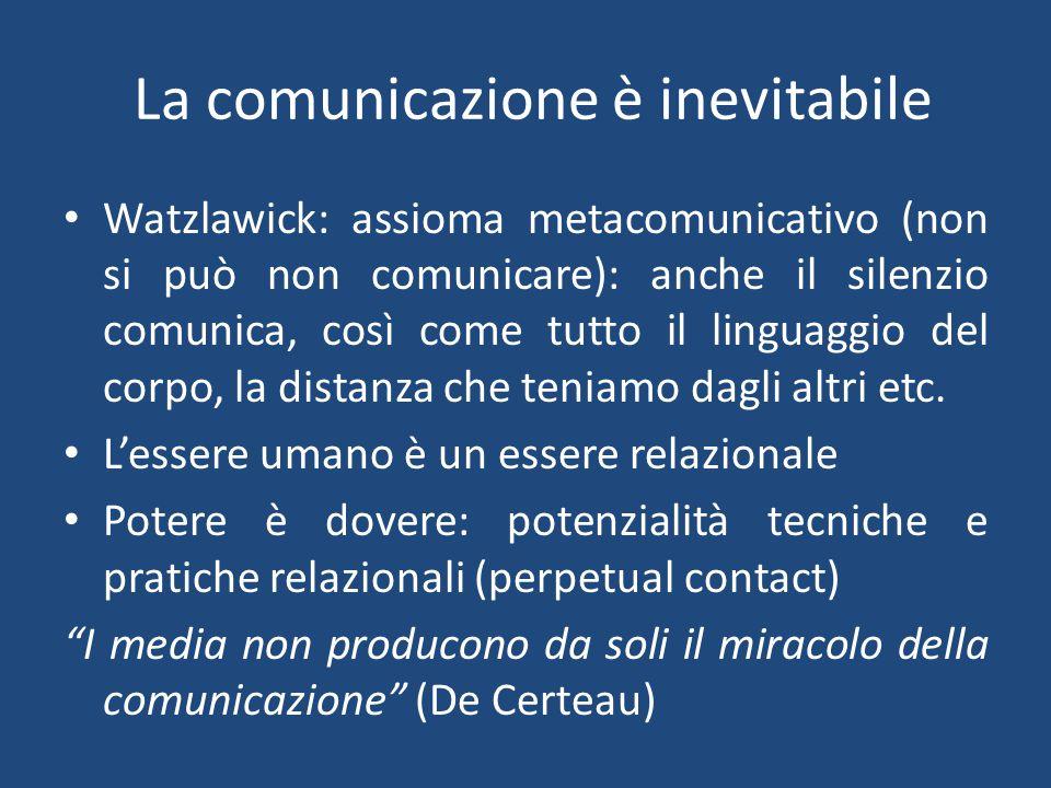 Centralità e difficoltà della comunicazione La comunicazione è il mito centrale delle nostre società (…) Da un lato, l'accento è posto su tutto ciò che circola (gente, cose e saperi), sui viaggi, i trasporti e questi grandi luoghi di scambio di idee e immagini che sono le scuole e i media.