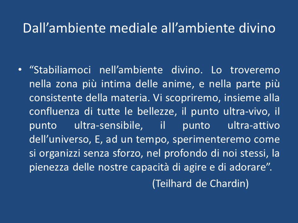 Dall'ambiente mediale all'ambiente divino Stabiliamoci nell'ambiente divino.
