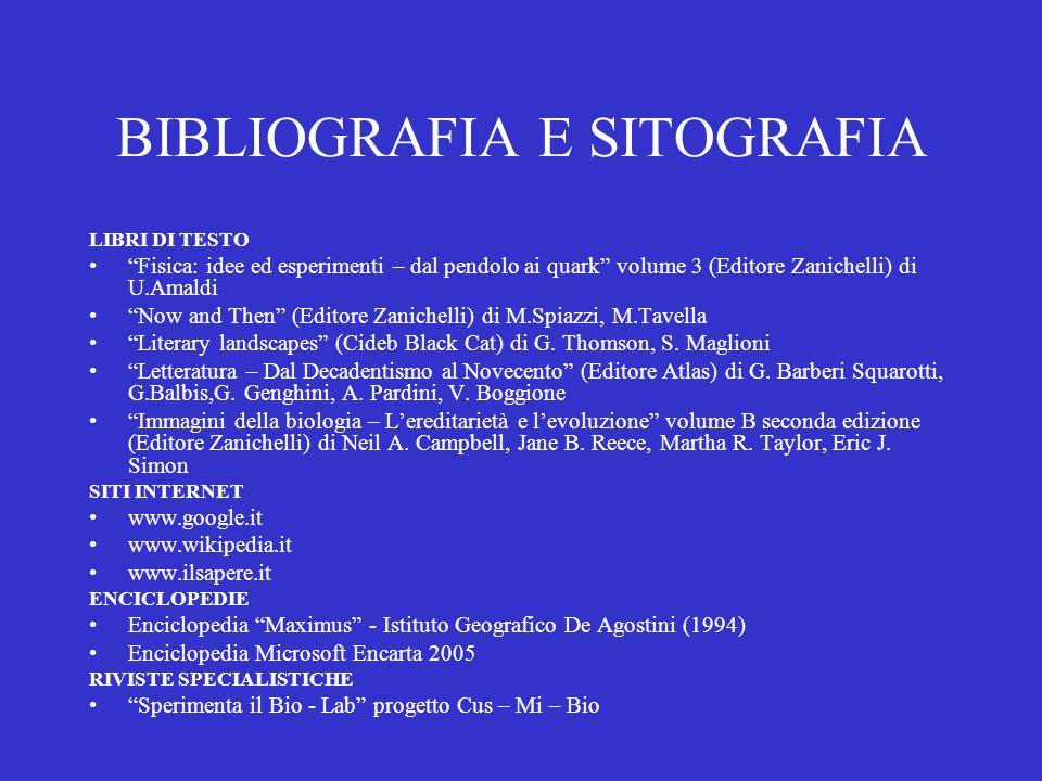 """BIBLIOGRAFIA E SITOGRAFIA LIBRI DI TESTO """"Fisica: idee ed esperimenti – dal pendolo ai quark"""" volume 3 (Editore Zanichelli) di U.Amaldi """"Now and Then"""""""