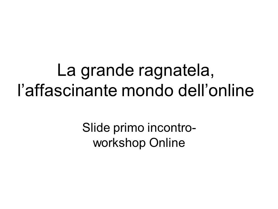 La grande ragnatela, l'affascinante mondo dell'online Slide primo incontro- workshop Online