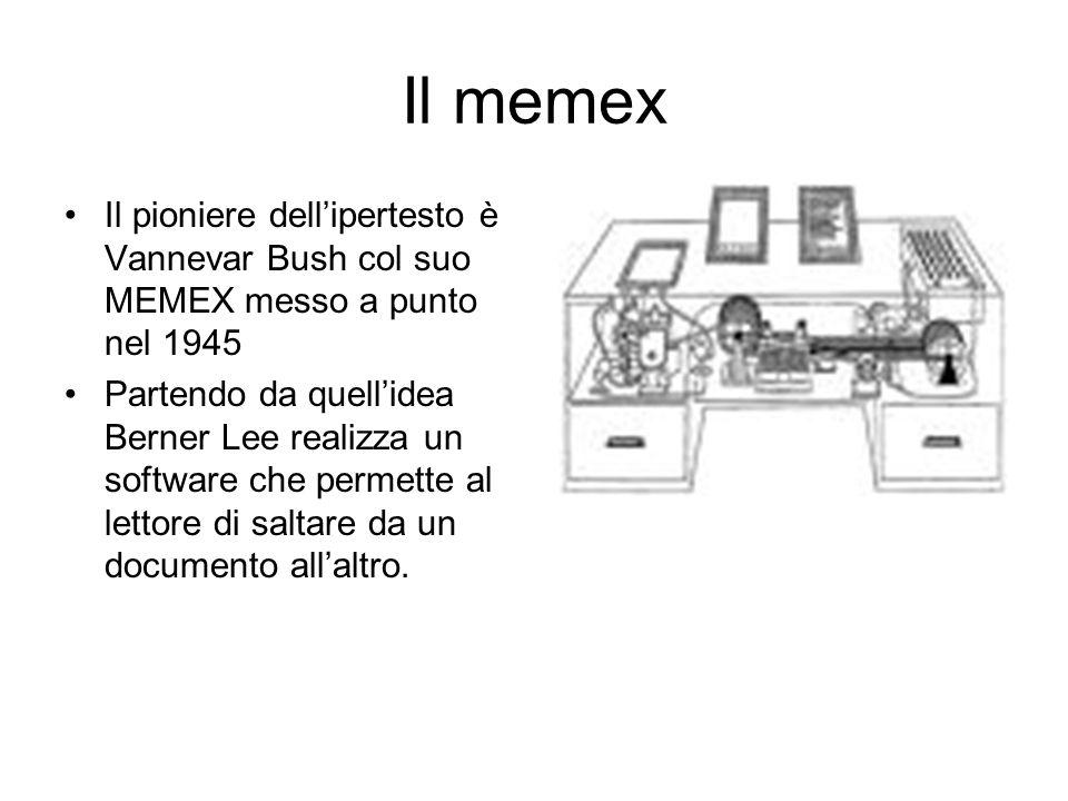 Il memex Il pioniere dell'ipertesto è Vannevar Bush col suo MEMEX messo a punto nel 1945 Partendo da quell'idea Berner Lee realizza un software che permette al lettore di saltare da un documento all'altro.