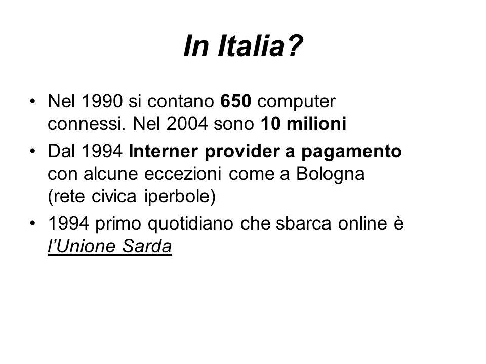 In Italia. Nel 1990 si contano 650 computer connessi.