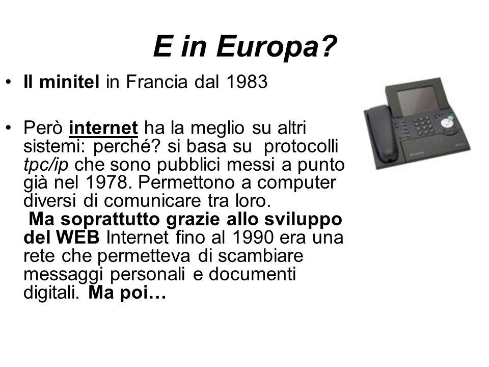 E in Europa. Il minitel in Francia dal 1983 Però internet ha la meglio su altri sistemi: perché.