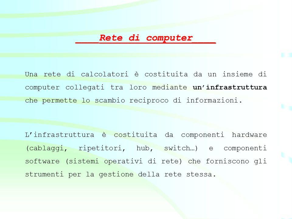 Una rete di calcolatori è costituita da un insieme di computer collegati tra loro mediante un'infrastruttura che permette lo scambio reciproco di info