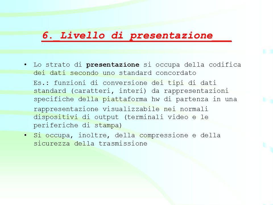 6._Livello di presentazione___ Lo strato di presentazione si occupa della codifica dei dati secondo uno standard concordato Es.: funzioni di conversio