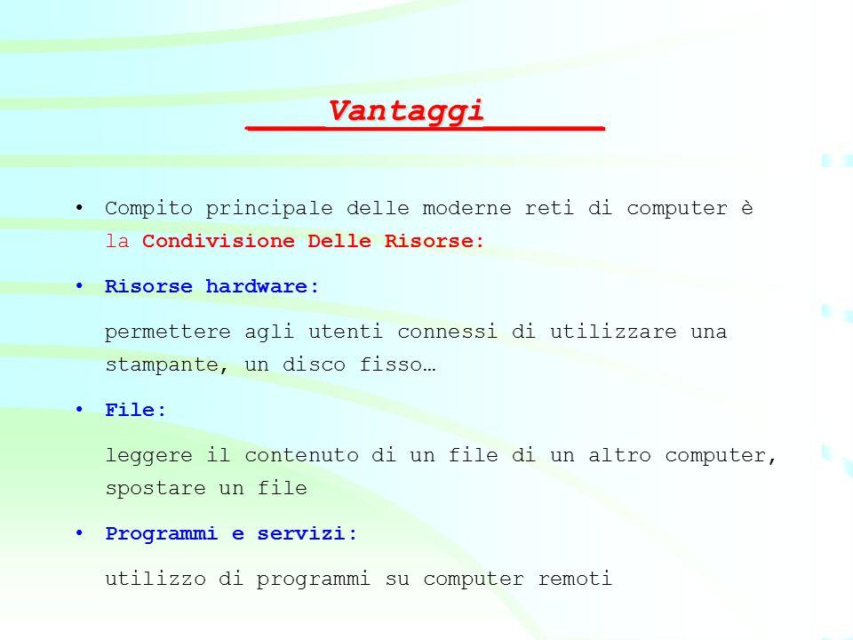____Vantaggi______ Compito principale delle moderne reti di computer è la Condivisione Delle Risorse: Risorse hardware: permettere agli utenti conness