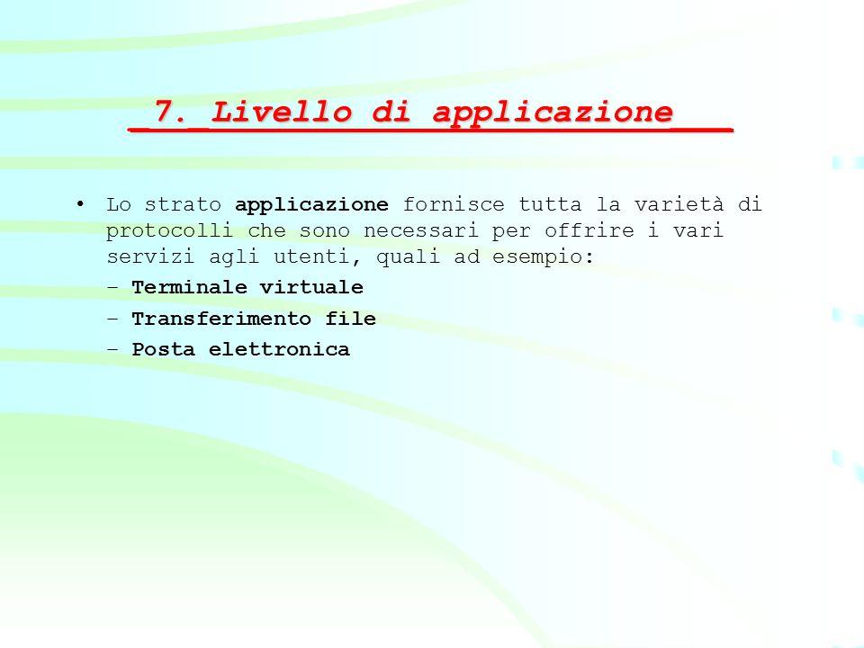 _7._Livello di applicazione___ Lo strato applicazione fornisce tutta la varietà di protocolli che sono necessari per offrire i vari servizi agli utent