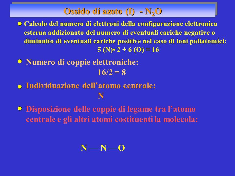 Ossido di azoto (I) - N 2 O Numero di coppie elettroniche: 16/2 = 8 Individuazione dell'atomo centrale: N NON Disposizione delle coppie di legame tra