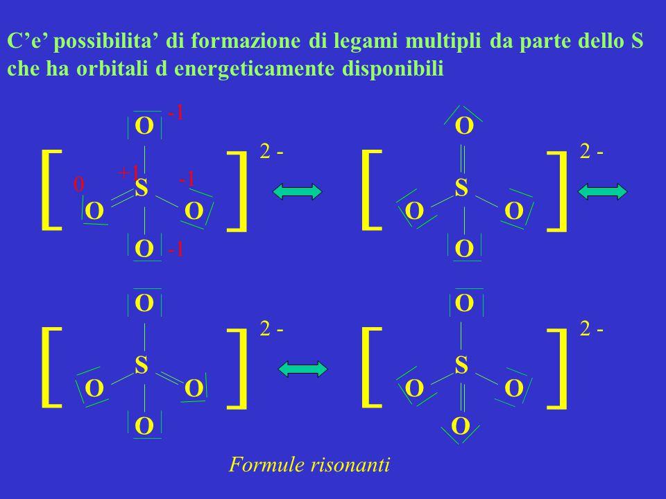 S O O O ] ] 2 - O S O O O ] ] O C'e' possibilita' di formazione di legami multipli da parte dello S che ha orbitali d energeticamente disponibili S O