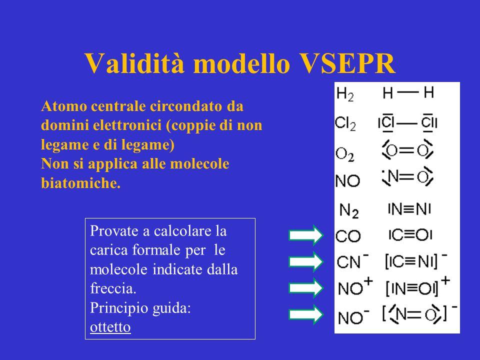 Validità modello VSEPR Atomo centrale circondato da domini elettronici (coppie di non legame e di legame) Non si applica alle molecole biatomiche. Pro