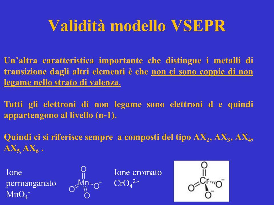 Validità modello VSEPR Un'altra caratteristica importante che distingue i metalli di transizione dagli altri elementi è che non ci sono coppie di non