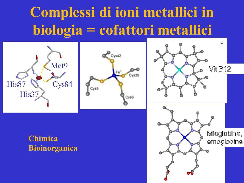 Complessi di ioni metallici in biologia = cofattori metallici Met9 2 Cys84 His37 His87 Chimica Bioinorganica