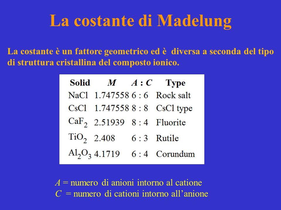 La costante di Madelung La costante è un fattore geometrico ed è diversa a seconda del tipo di struttura cristallina del composto ionico. A = numero d