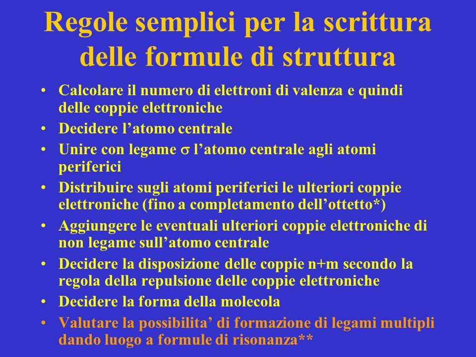 Regole semplici per la scrittura delle formule di struttura Calcolare il numero di elettroni di valenza e quindi delle coppie elettroniche Decidere l'