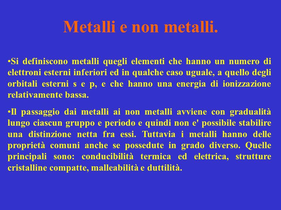 Metalli e non metalli. Si definiscono metalli quegli elementi che hanno un numero di elettroni esterni inferiori ed in qualche caso uguale, a quello d