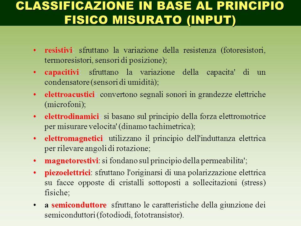 Classificazione in base a caratteristiche fisiche resistivi:resistivi: sfruttano la variazione della resistenza (fotoresistori, termoresistori, sensor
