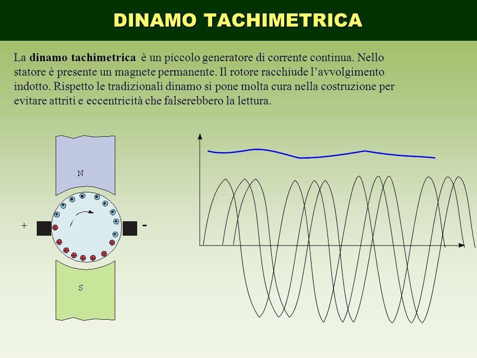 La dinamo tachimetrica è un piccolo generatore di corrente continua. Nello statore è presente un magnete permanente. Il rotore racchiude l'avvolgiment