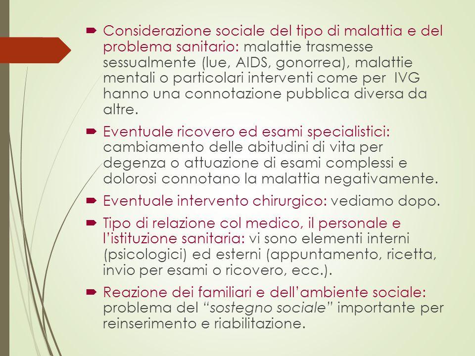  Considerazione sociale del tipo di malattia e del problema sanitario: malattie trasmesse sessualmente (lue, AIDS, gonorrea), malattie mentali o part