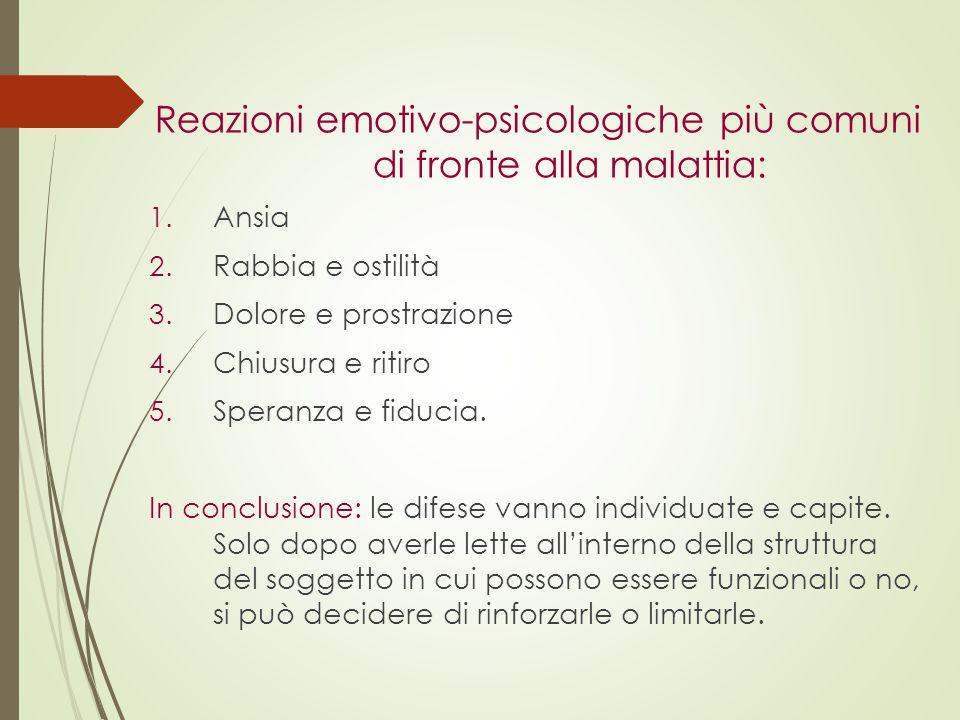 Reazioni emotivo-psicologiche più comuni di fronte alla malattia: 1. Ansia 2. Rabbia e ostilità 3. Dolore e prostrazione 4. Chiusura e ritiro 5. Spera