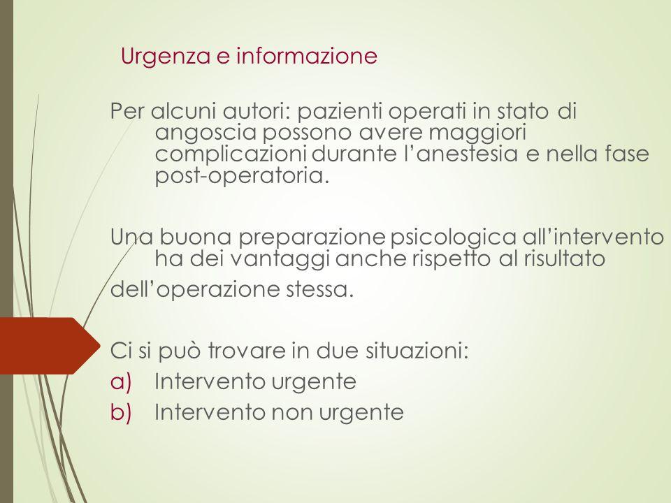 Urgenza e informazione Per alcuni autori: pazienti operati in stato di angoscia possono avere maggiori complicazioni durante l'anestesia e nella fase