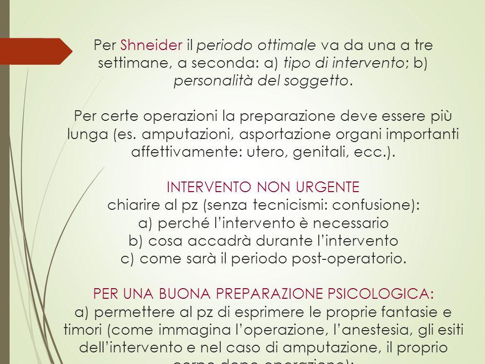 Per Shneider il periodo ottimale va da una a tre settimane, a seconda: a) tipo di intervento; b) personalità del soggetto. Per certe operazioni la pre