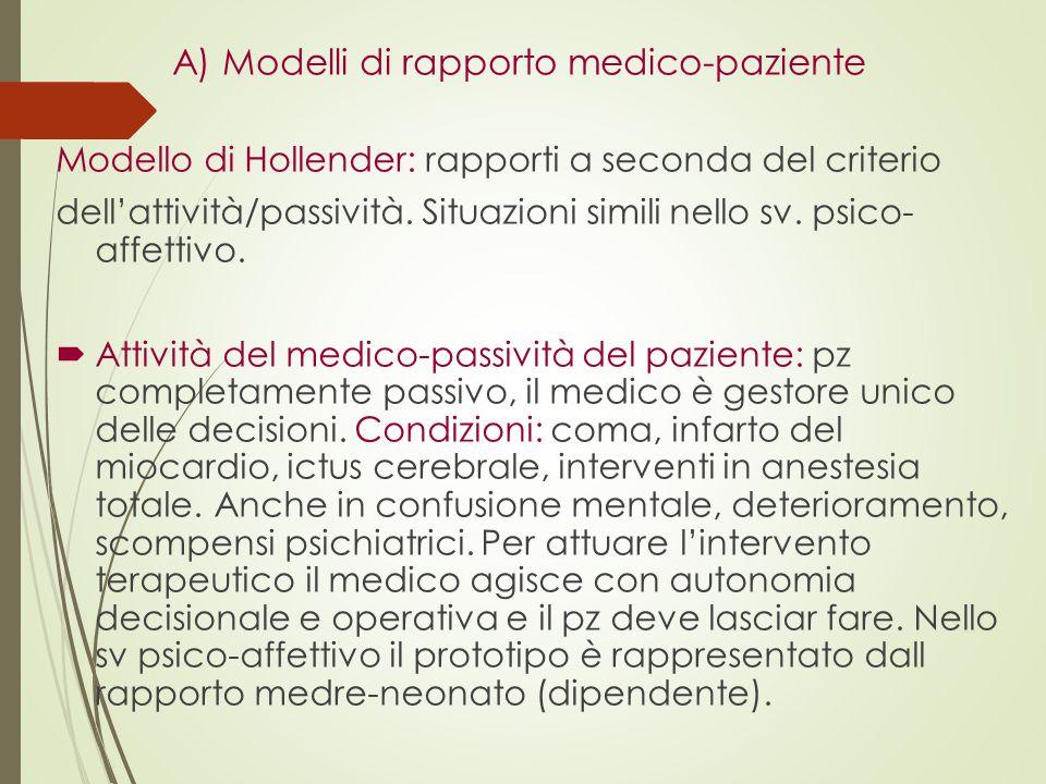  Direttività del medico-osservanza del paziente: il pz collabora col medico nell'attuazione della terapia prescritta dal medico.