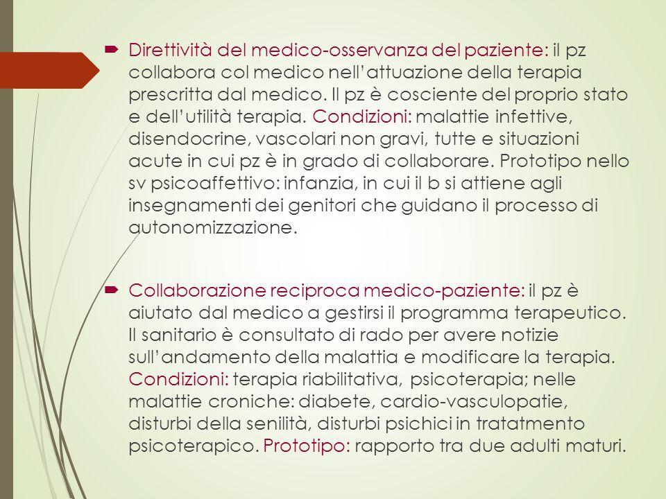  Direttività del medico-osservanza del paziente: il pz collabora col medico nell'attuazione della terapia prescritta dal medico. Il pz è cosciente de