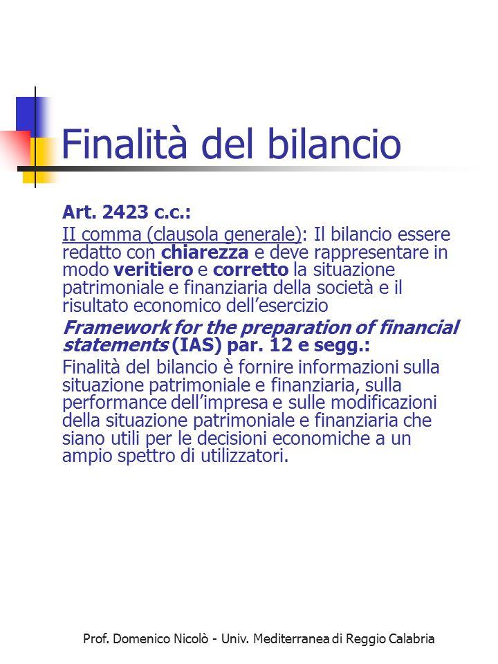Prof. Domenico Nicolò - Univ. Mediterranea di Reggio Calabria Finalità del bilancio Art. 2423 c.c.: II comma (clausola generale): Il bilancio essere r