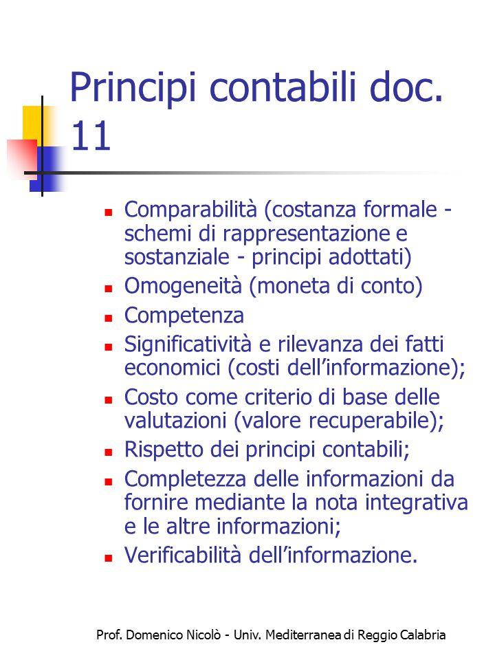 Prof. Domenico Nicolò - Univ. Mediterranea di Reggio Calabria Principi contabili doc. 11 Comparabilità (costanza formale - schemi di rappresentazione