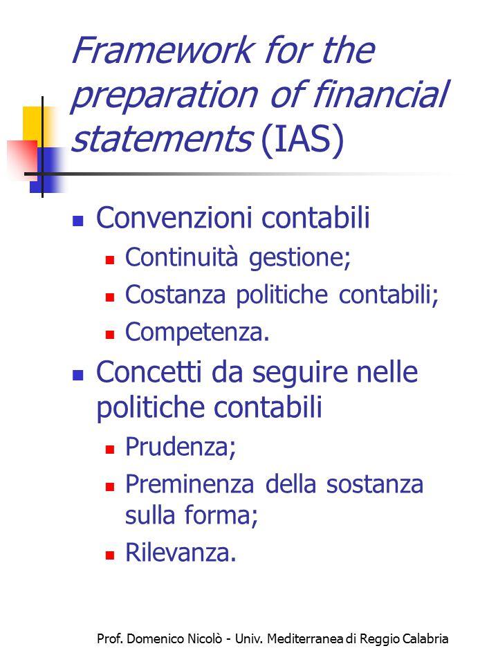 Prof. Domenico Nicolò - Univ. Mediterranea di Reggio Calabria Framework for the preparation of financial statements (IAS) Convenzioni contabili Contin