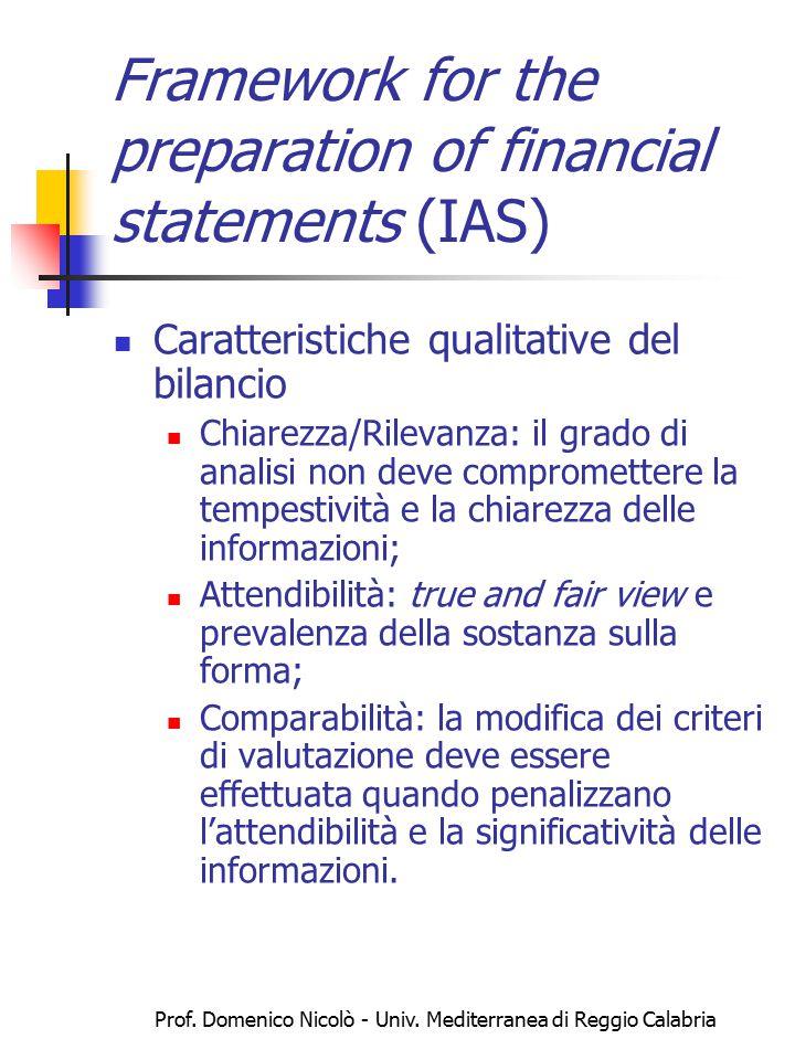 Prof. Domenico Nicolò - Univ. Mediterranea di Reggio Calabria Framework for the preparation of financial statements (IAS) Caratteristiche qualitative