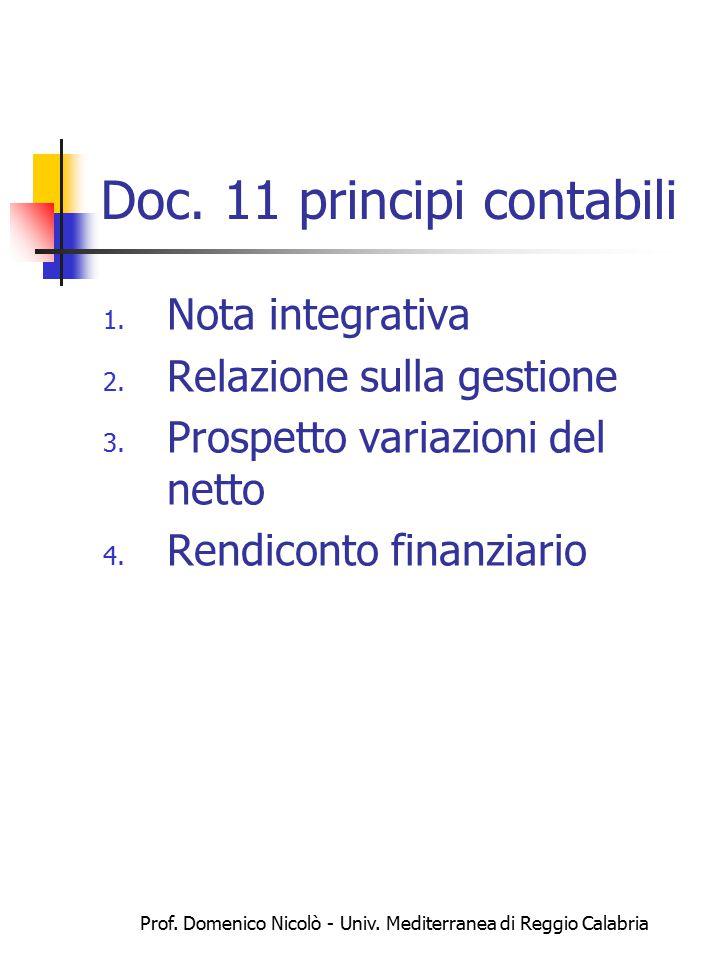 Prof. Domenico Nicolò - Univ. Mediterranea di Reggio Calabria Doc. 11 principi contabili 1. Nota integrativa 2. Relazione sulla gestione 3. Prospetto