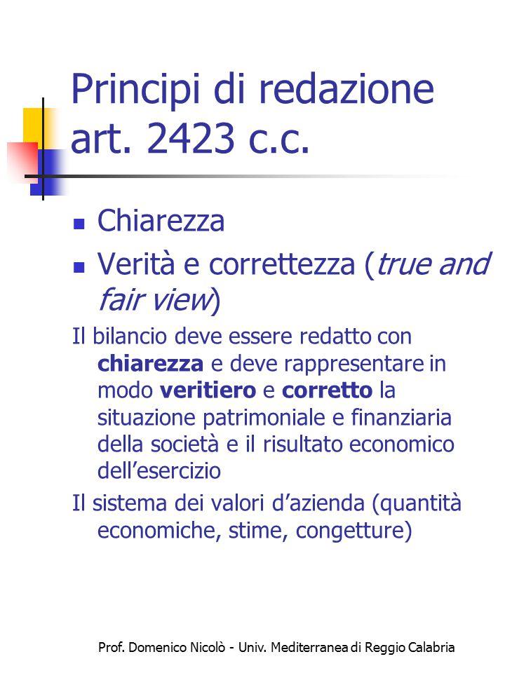 Prof. Domenico Nicolò - Univ. Mediterranea di Reggio Calabria Principi di redazione art. 2423 c.c. Chiarezza Verità e correttezza (true and fair view)