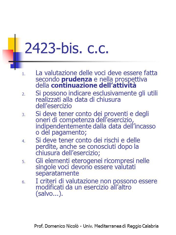 Prof. Domenico Nicolò - Univ. Mediterranea di Reggio Calabria 2423-bis. c.c. 1. La valutazione delle voci deve essere fatta secondo prudenza e nella p