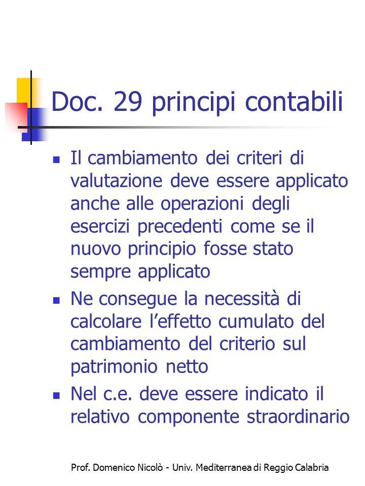 Prof. Domenico Nicolò - Univ. Mediterranea di Reggio Calabria Doc. 29 principi contabili Il cambiamento dei criteri di valutazione deve essere applica