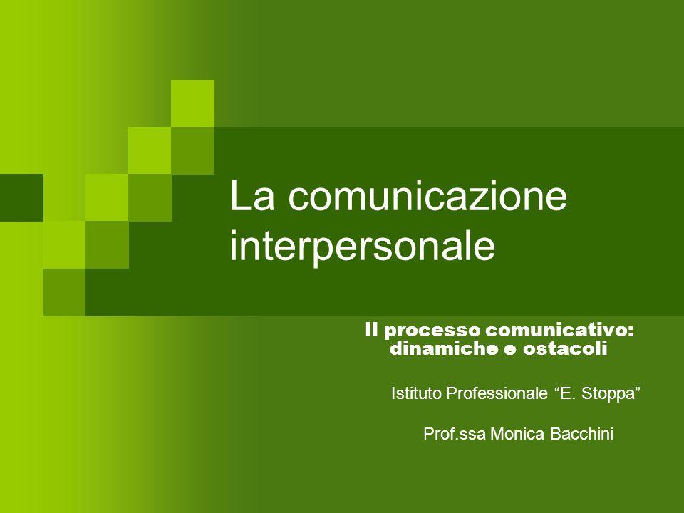 """La comunicazione interpersonale Il processo comunicativo: dinamiche e ostacoli Istituto Professionale """"E. Stoppa"""" Prof.ssa Monica Bacchini"""